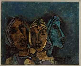 Maqbool Fida Husain-Untitled (Three Heads - Rajasthan)-1963