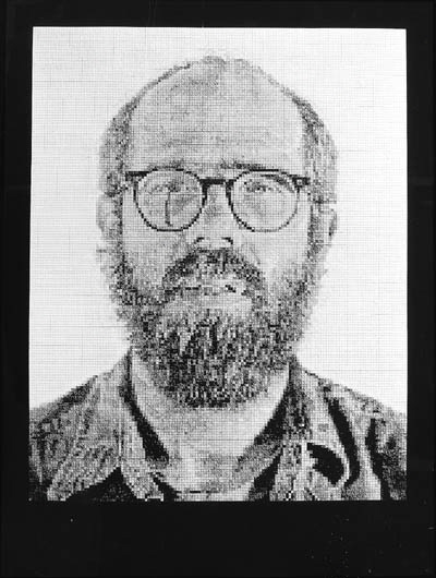 Chuck Close-Self portrait (White ink, Butler Institute of American Art)-1978