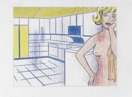 Roy Lichtenstein-Nude in Kitchen (Study)-1995