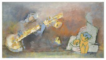Maqbool Fida Husain-Untitled (Sitar Player)-1960