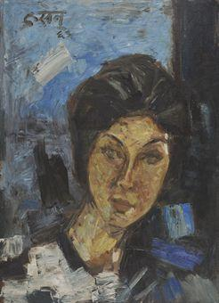 Maqbool Fida Husain-Untitled (Portrait of a Lady)-