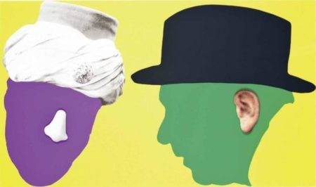 John Baldessari-Two Profiles: One With Nose And Turban; One With Ear And Hat-2006