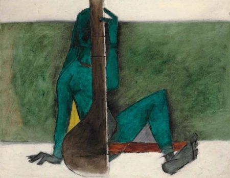 Maqbool Fida Husain-Untitled (Lady with Tanpura)-