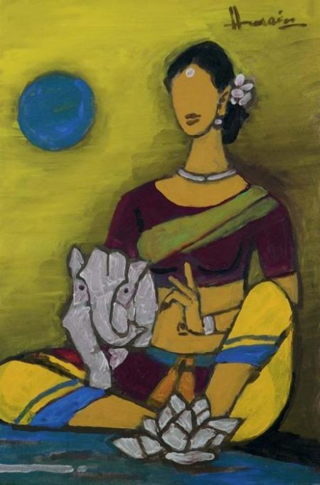 Maqbool Fida Husain-Untitled (Ganesha and Parvati)-2001
