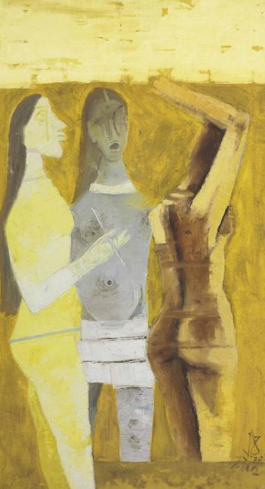 Maqbool Fida Husain-Untitled (Women In Yellow)-1970