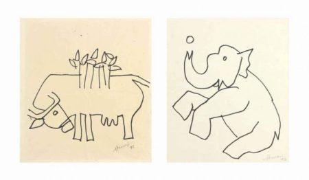 Maqbool Fida Husain-(i) Untitled (Cow); (ii) Untitled (Elephant)-1992