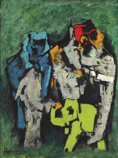 Maqbool Fida Husain-Untitled (Elephants)-1960