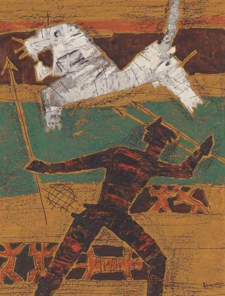 Maqbool Fida Husain-Untitled (Hunter)-1950