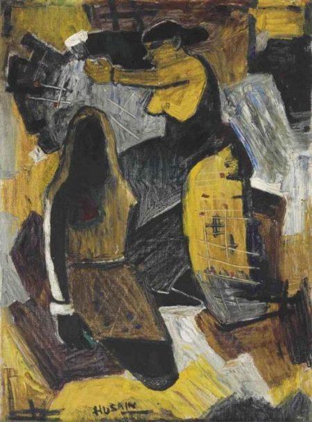 Maqbool Fida Husain-Untitled (Basket Weavers)-1950
