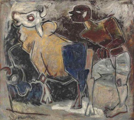 Maqbool Fida Husain-Untitled (Farmer)-1951