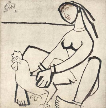 Maqbool Fida Husain-Untitled (Lady with Rooster)-1956