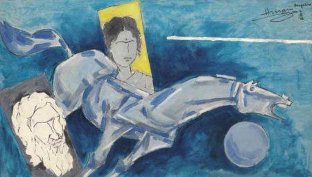 Maqbool Fida Husain-Untitled (Self-Portrait, Horse and Lady)-1986