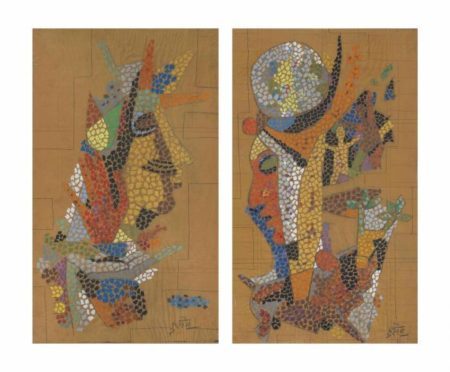 Maqbool Fida Husain-Untitled (Studies for a Mosaic Mural)-1960