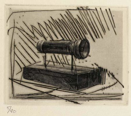 Jasper Johns-Small Flashlight (ULAE.58) from 1st Etchings, 2nd State-1969