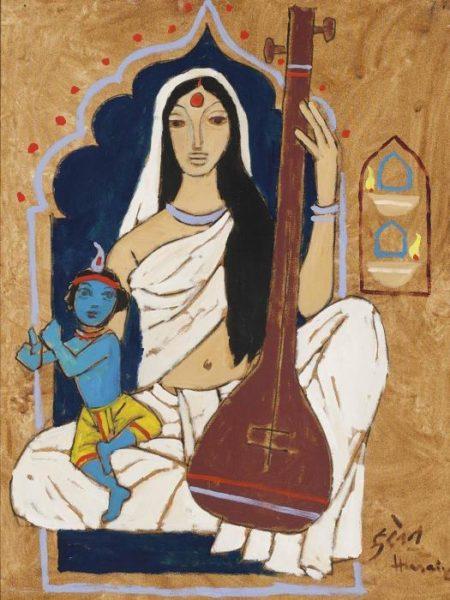 Maqbool Fida Husain-Untitled (Mirabai with Krishna)-