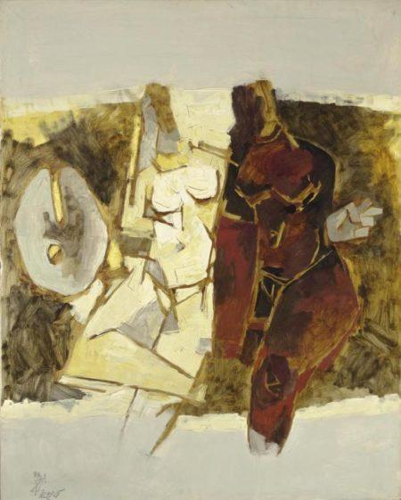 Maqbool Fida Husain-Untitled (Abstract figures) (Kobra)-1968