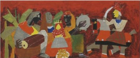 Maqbool Fida Husain-Untitled (Doll's Wedding) (Procession)-1950