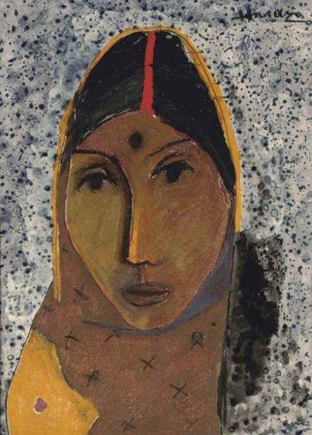 Maqbool Fida Husain-Untitled (Portrait of a Woman)-1958