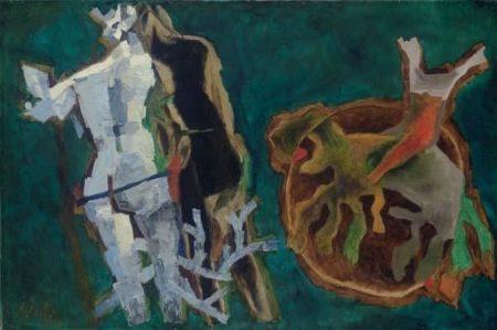 Maqbool Fida Husain-Iguanic-1970