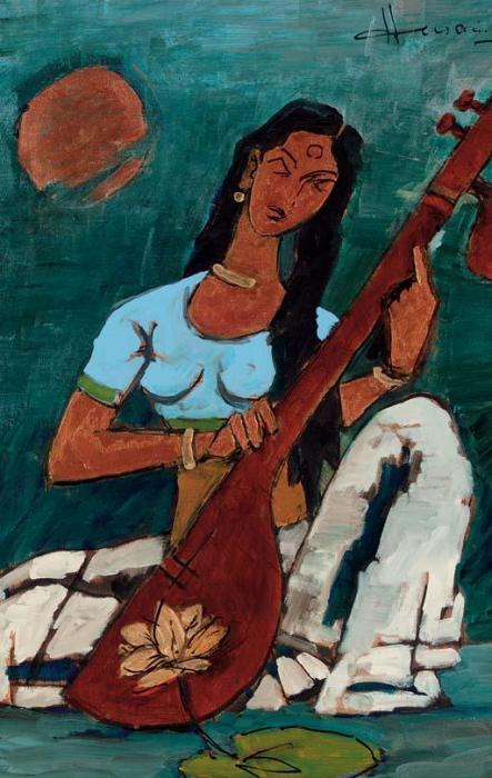 Maqbool Fida Husain-Woman Playing Veena-