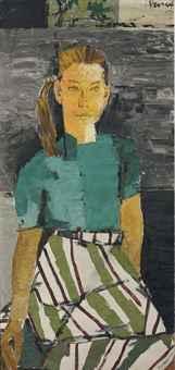 Maqbool Fida Husain-Untitled (Portrait of Deborah)-1957