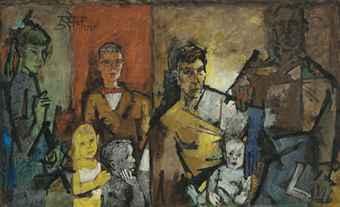 Maqbool Fida Husain-Untitled (Keehn Family Portrait)-1959