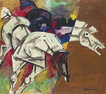 Maqbool Fida Husain-Untitled (Composition with horses)-