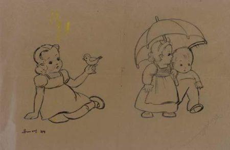 Maqbool Fida Husain-Untitled (Children)-1944