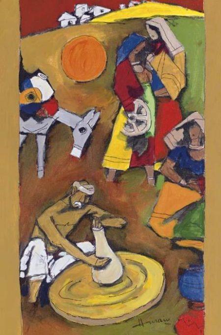 Maqbool Fida Husain-Untitled (Village Scene)-