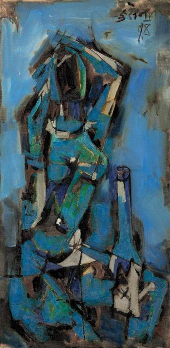 Maqbool Fida Husain-Untitled (Lady with Lamp)-