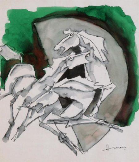 Maqbool Fida Husain-Untitled (Horses)-