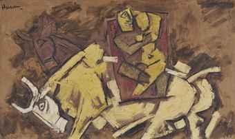 Maqbool Fida Husain-Untitled (Uma-Maheshvara)-1960