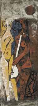Maqbool Fida Husain-Untitled (Musicians)-1961