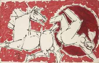 Maqbool Fida Husain-Untitled (Red and White Horse)-1970