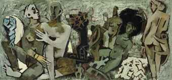 Maqbool Fida Husain-Amplessi (Embrace)-1950