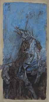 Maqbool Fida Husain-Untitled (Blue horse)-1966
