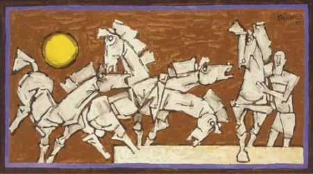 Maqbool Fida Husain-The Arrival of Fifth-1981