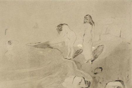 Edvard Munch-Badende Madchen / Badende Frauen / Badende Kvinner / Women Bathing / Girls Bathing (Schiefler 14; Woll 18)-1895