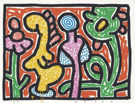 Keith Haring-Keith Haring - Flowers Suite: one plate-1990