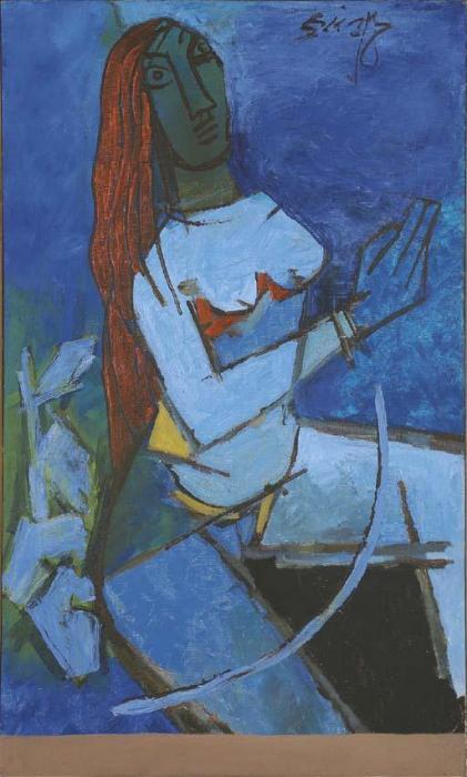 Maqbool Fida Husain-Lady-#N/A