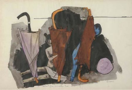 Maqbool Fida Husain-Portrait of an umbrella - Two-