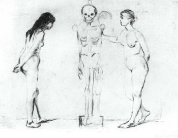 Die Beiden Madchen und das Gerippe / Kvinnene ved skjelettet / The Women and the Skeleton (Schiefler 44, Willoch 36, Woll 51)-1896