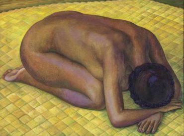 Diego Rivera-Nieves desnuda de rodillas sobre un petate-1940