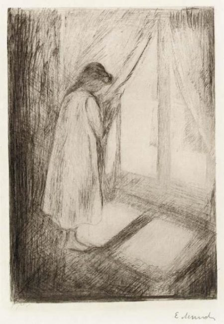 Edvard Munch-Das Madchen am Fenster / Piken ved Vinduet / The Girl at the Window (Woll 5)-1894