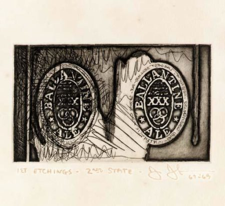 Jasper Johns-Ale Cans, from 1st Etchings, 2nd State (see ULAE 58)-1969