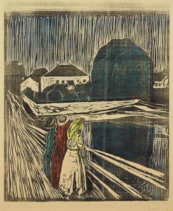 Edvard Munch-Madchen auf der Brucke / The Girls on the Bridge / Madchen auf der Landungsbrucke in Asgardstrand / Women on landing-stage in Asgardstrand-1920