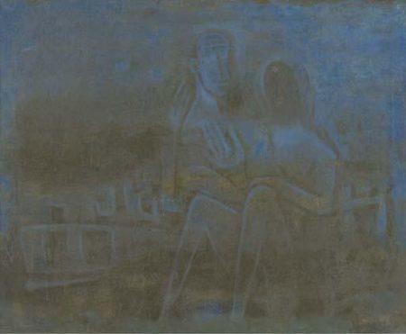 Maqbool Fida Husain-Whispering Blue Fans-1962