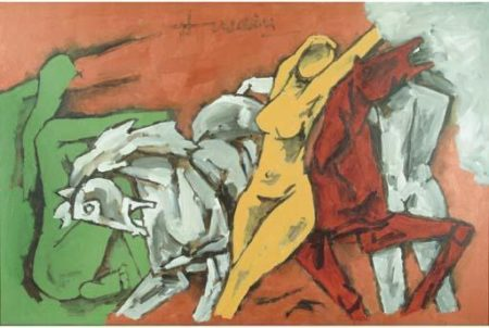 Maqbool Fida Husain-Three Graces-