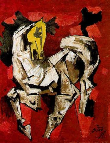 Maqbool Fida Husain-The Prancing Horse-