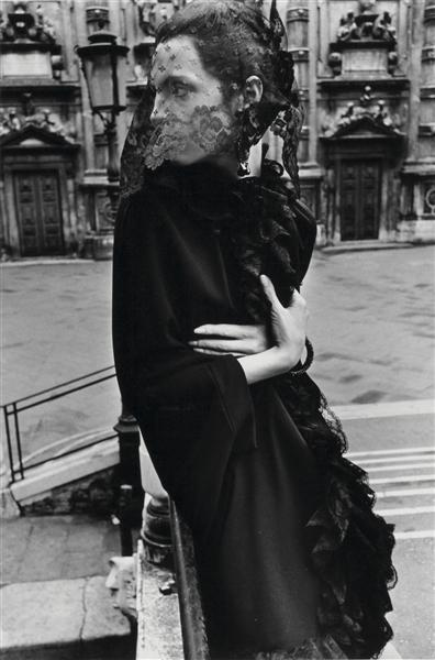 Helmut Newton-Veiled Woman In Venice (mirella Petteni), Fashion Study For queen Magazine (1966)-1966